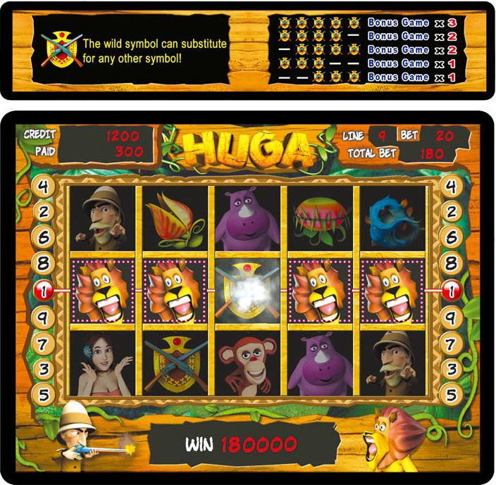 HUGA 15-REEL 9-LINE GAME - Video Slot Game Machine
